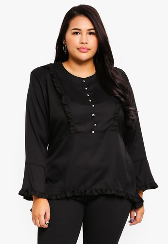Gene Martino black Plus Size Ruffles Blouse ABD1AAA79F5947GS_1