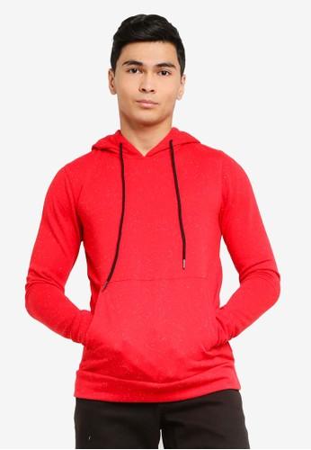 UniqTee red Hoodie with Kangaroo Pocket EBC0AAAC0D8D1DGS_1