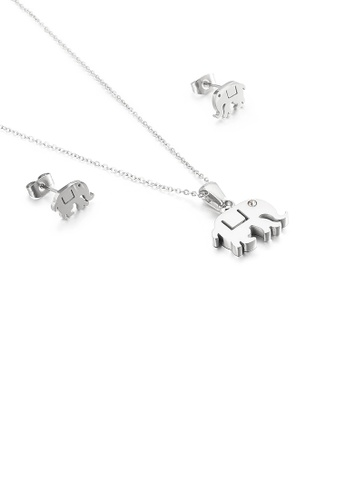 Glamorousky white Simple and Cute Elephant 316L Stainless Steel Necklace and Stud Earrings Set 83248ACFC55B3FGS_1