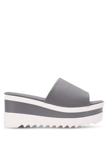Nose grey Lycra Stretch Wedge Sandals NO327SH0S6U7MY_1