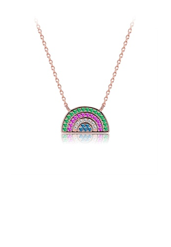 Glamorousky multi 925 Sterling Silver Plated Rose Gold Rainbow Necklace with Austrian Element Crystal 1F5BAACAA3C490GS_1