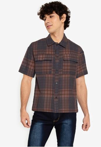 ZALORA BASICS multi Oversize Plaid Shirt D9D89AA4BEC587GS_1