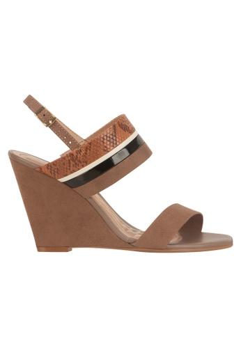 Beira Rio brown Sling Back Wedge Sandal BE995SH98ERTHK_1