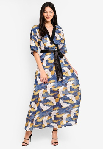 14c82214aba Bird Print Wrap Maxi Dress