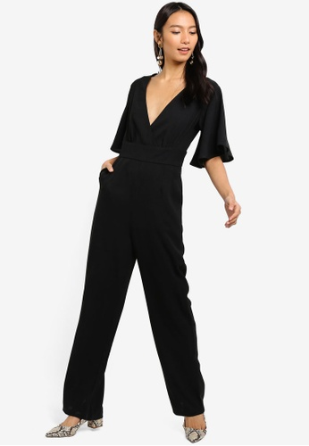 ZALORA black Flare Sleeves Jumpsuit 5959DAADFEAF85GS_1