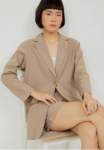 Boss Babe the Label brown Lacey Linen Blazer 6283EAA5DE4784GS_1