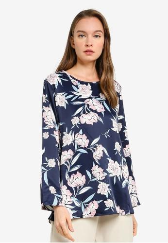 Aqeela Muslimah Wear blue Basic Printed Blouse 8F79FAA7350B54GS_1