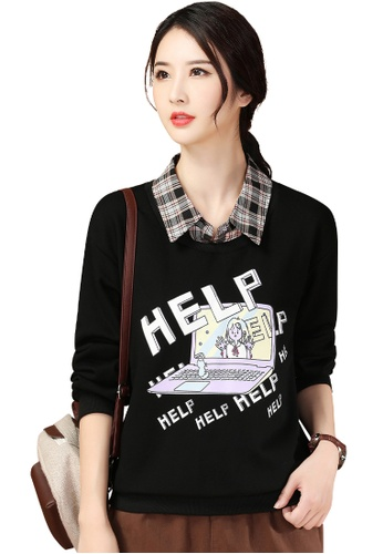 A-IN GIRLS black Fake Two-Piece Printed Plus Velvet Warm Sweater A005FAA622CCF3GS_1