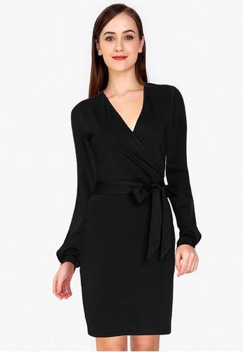 ZALORA WORK black Long Sleeve Wrap Dress 8BB5CAA0C3CCD3GS_1