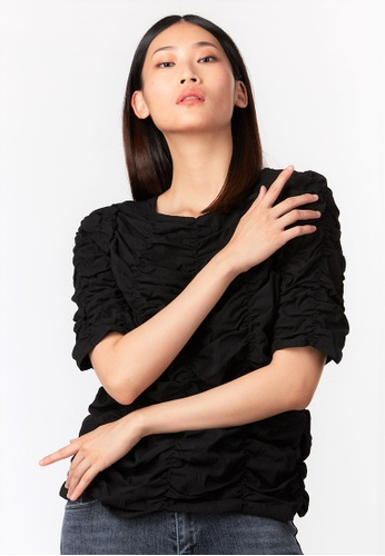 What To Wear black Ruched Tank Top in Black 76E9AAA9F959EAGS_1