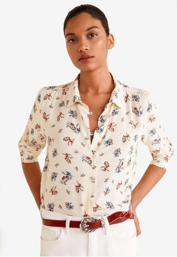 Mango beige Floral Print Shirt FBD54AA0DC17A2GS_1