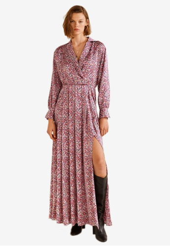MANGO pink Satin Floral Dress 22BC2AA8DDED1CGS_1