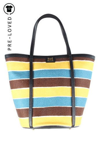 Dolce & Gabbana blue Pre-Loved dolce & gabbana Striped Canvas Tote Bag D0A05AC91AD608GS_1