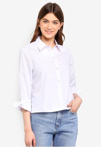 Something Borrowed white Popper Detailed Sleeves Shirt 29053AA5EBE440GS_1