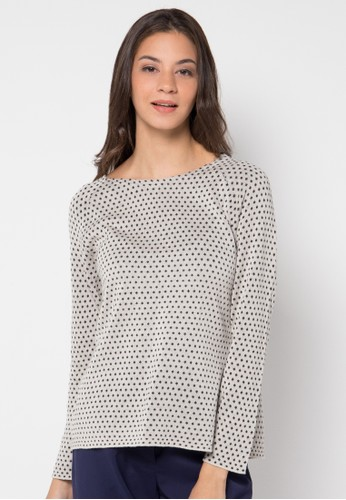 ULTRAVIOLET BY COME beige Dot Jacquard Sweater UL461AA77NGKID_1