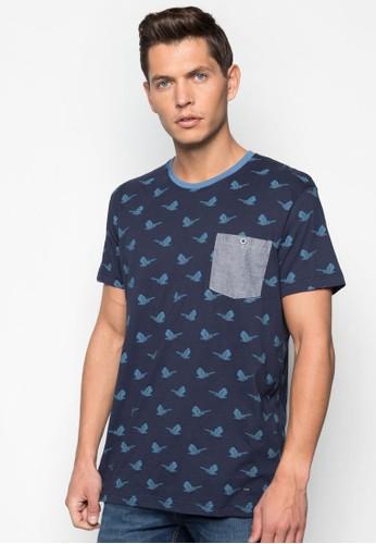Shamaresprit 會員 拼色口袋小鳥圖案T 恤, 服飾, T恤