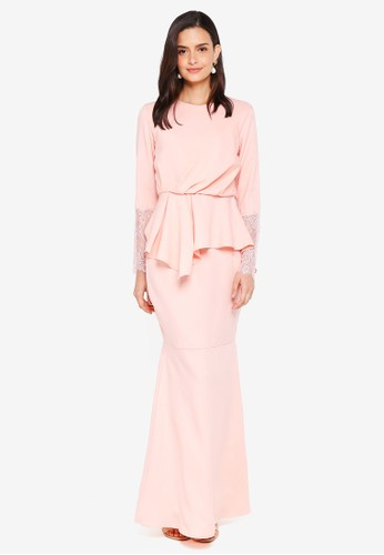 Lubna pink Draped Kurung with Lace Sleeves 489E6AA09DA433GS_1