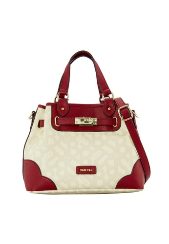 SEMBONIA red SEMBONIA Coated Canvas Trimmed Synthetic Leather Satchel Bag (Red) B4C50ACE7B458AGS_1