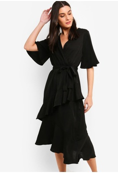 b035e9ac9f76 ZALORA black Flutter Sleeves Wrap Ruffles Dress A7072AAA3BF61FGS 1