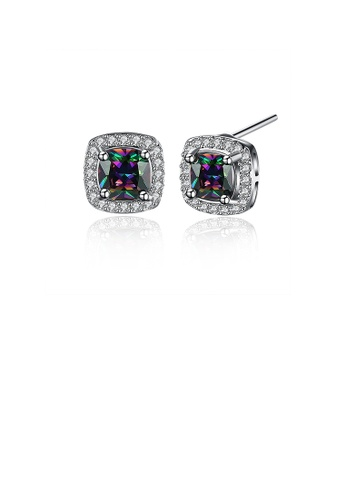 Glamorousky multi Dazzling Oval Colored Cubic Zirconia Stud Earrings 1C4EBAC51B782EGS_1