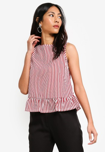 ZALORA BASICS red and multi Basic Ruffles Hem Top 099C6AAF71C7C3GS_1