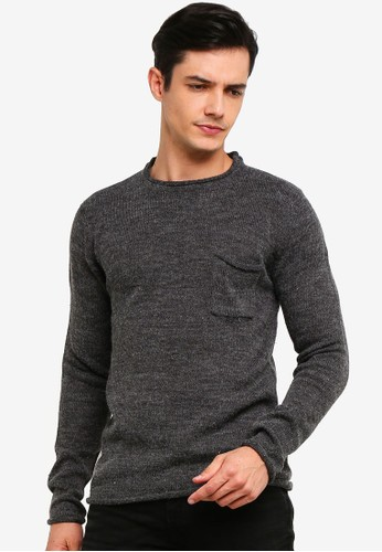 !Solid grey Squire Ribbed Raw Edge Knit Sweater E8173AA7B36B01GS_1