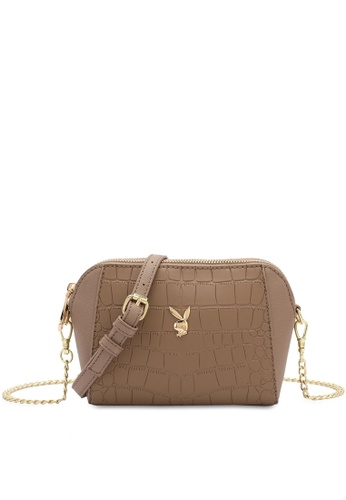 PLAYBOY BUNNY brown Playboy Bunny Chain Sling Bag 63030ACB9F0877GS_1