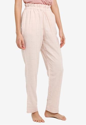 Cotton On Body pink Flannel Paper Bag Pants DE7FBAACE12E64GS_1
