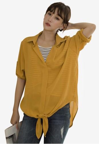 Tokichoi yellow Layered-Look Hem Tie Blouse BD3D2AA9AA7E8DGS_1