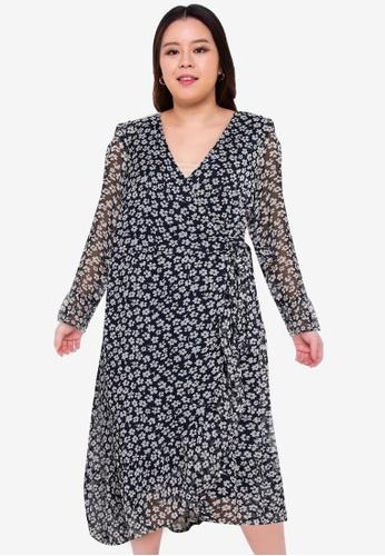 Junarose navy Luna Long Sleeve Wrap Dress 56C45AA327342CGS_1