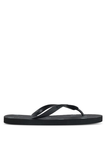 Penshoppe black Rubber Flip-Flops D3653SHADCE1F7GS_1