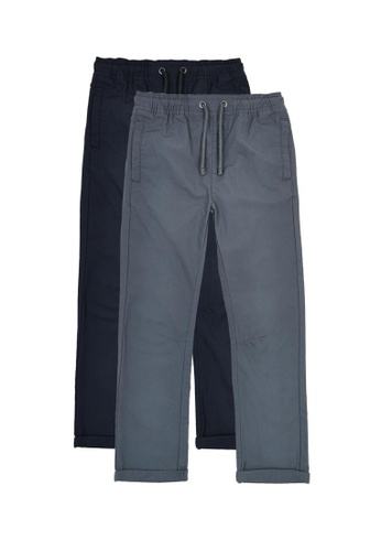 MARKS & SPENCER blue M&S 2 Pack Cotton Ripstop Trousers (6-16 Years) A0078KA315F2A2GS_1