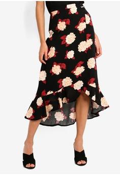 b926fb558f Miss Selfridge black Black Floral Print Midi Skater Skirt 1E911AAD6AF77AGS_1