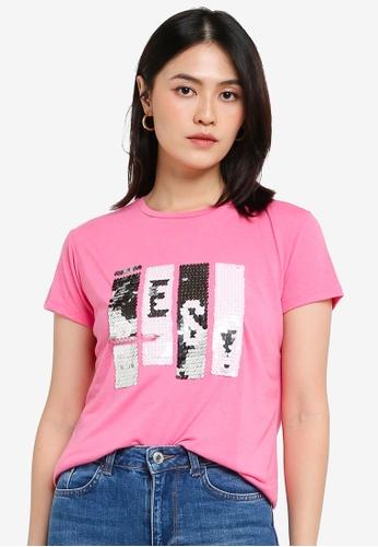 KOTON pink Sequin T-Shirt 58795AA57ED3CBGS_1