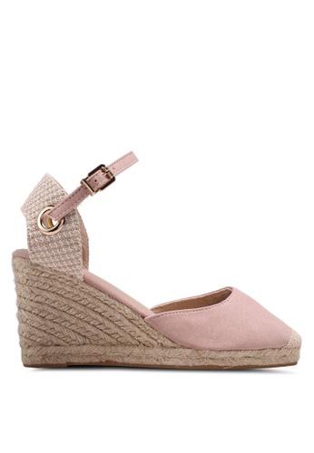 Dorothy Perkins 粉紅色 草編繞帶楔型涼鞋 CC37CSH81F0D27GS_1