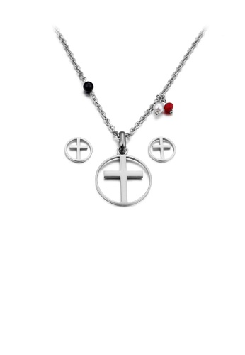 Glamorousky silver Simple and Classic Cross Geometric Round 316L Stainless Steel Necklace and Stud Earrings Set A1DFEAC4708E79GS_1