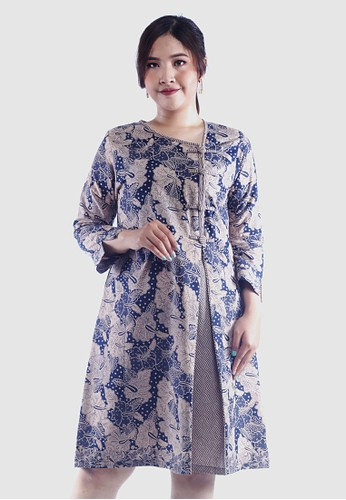 EAJA blue and navy Shanty Dress Batik Kerja Wanita D028DAA809940FGS_1