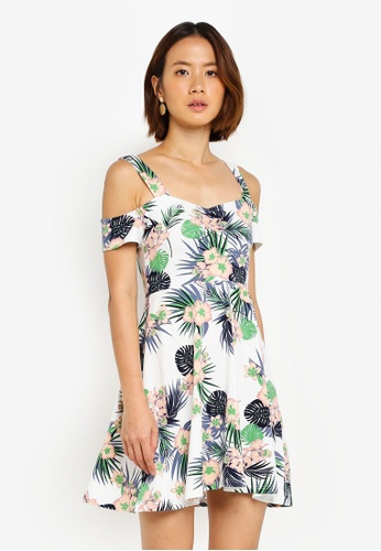 Dorothy Perkins white Petite Tropical Fit And Flare Dress 88508AA923887BGS_1