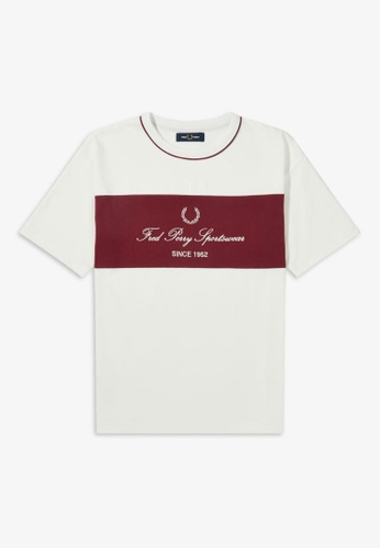 Fred Perry white G8148 - Embroidered Panel T-Shirt - (SNOW WHITE) 17C9FAA724E93DGS_1