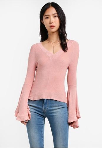 Free People pink Soo Dramatic Long Sleeve Top FR659AA0S3N5MY_1