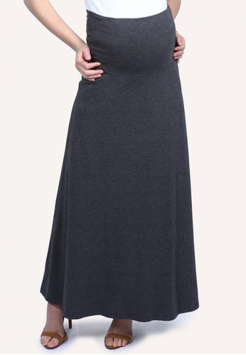 9months Maternity grey Grey Roll Panel Long Skirt 304CBAAABCFD0FGS_1