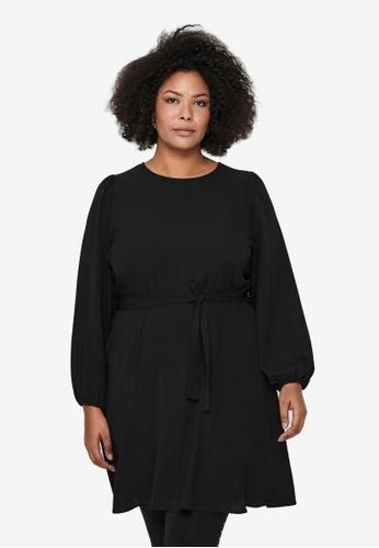 Only CARMAKOMA 黑色 Plus Size Luxmila Puff Sleeve Mini Dress C73F6AA173E04BGS_1