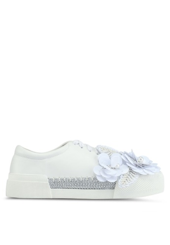 LOST INK white Saffy Floral Jute Plimsolls 1BC3FSH52DCEBAGS_1