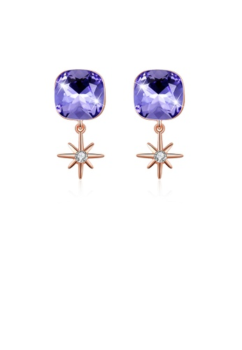 Glamorousky white 925 Sterling Silver Fashion Elegant Star and Geometric Sqaure Earrings with Purple Austrian Element Crystal 34153ACBD7C241GS_1