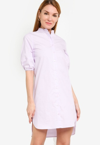 ZALORA WORK purple Puff Sleeve Shirt Dress 527E5AAF2F3D11GS_1