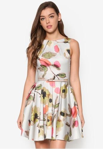 esprit高雄門市水彩花卉腰帶傘狀裙擺, 服飾, 洋裝