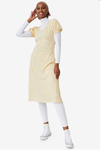 Cotton On yellow Elina Short Sleeve Midi Dress 287B0AA78B5704GS_1