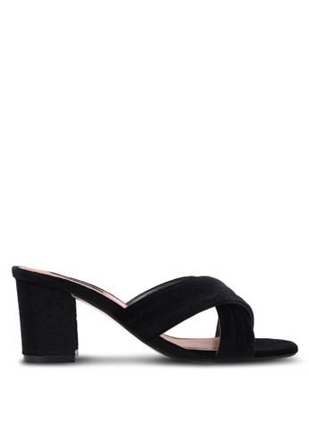 ZALORA black Quilt Cross Strap Heels 4C336SH35A15FAGS_1