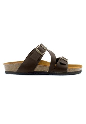 SoleSimple 褐色 Hamburg - 深棕褐色 百搭/搭帶 全皮軟木涼鞋 395B3SHE278699GS_1