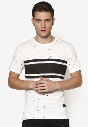 Space 條紋印esprit au花短袖 TEE, 服飾, T恤